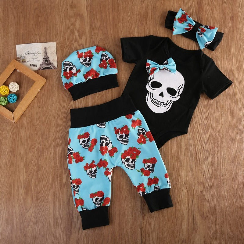 4pcs Newborn Baby Girls Clothes Jumpsuit Romper Bodysuit Long Pants Outfit Set Skull Ghost Halloween Clothes