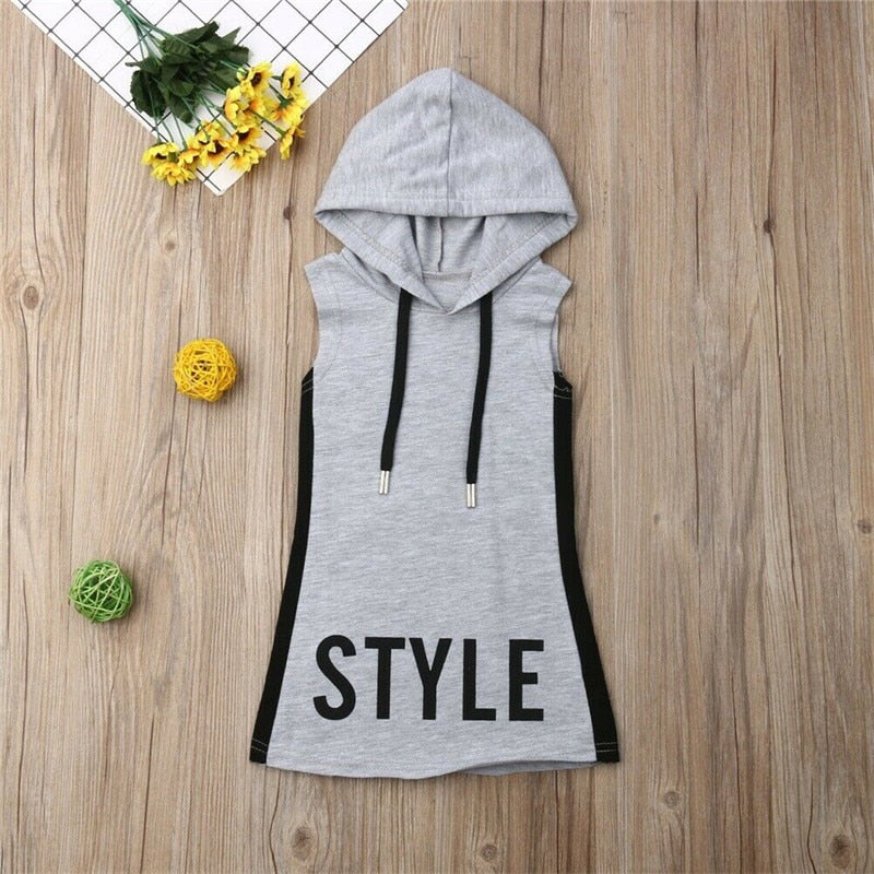 Baby Girl Clothes Hooded Dress for Kids Girls Dresses Summer Tunic Children Kid Letter Dress Casual Party Sundress 1-6T