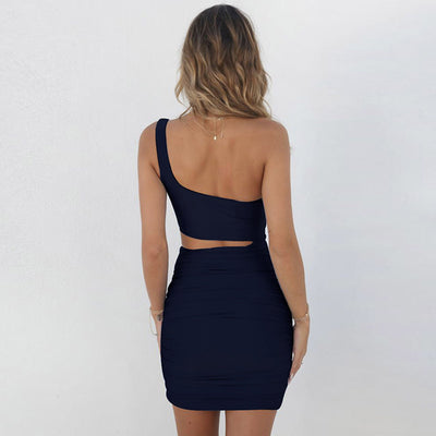 Mini Bodycon Dress Summer Women Backless Mini Party Dress One Shoulder Sleeveless Sexy Dress