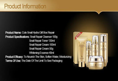 Gold Snail Korean Facial Skin Care Set Moisturizing / Whitening / Toner Essence / Cleanser