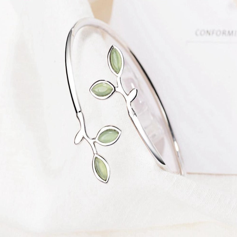 Fashionable Original 925 Sterling Silver Green Leaf Shape Design Bracelets Jewelry Gift for Women