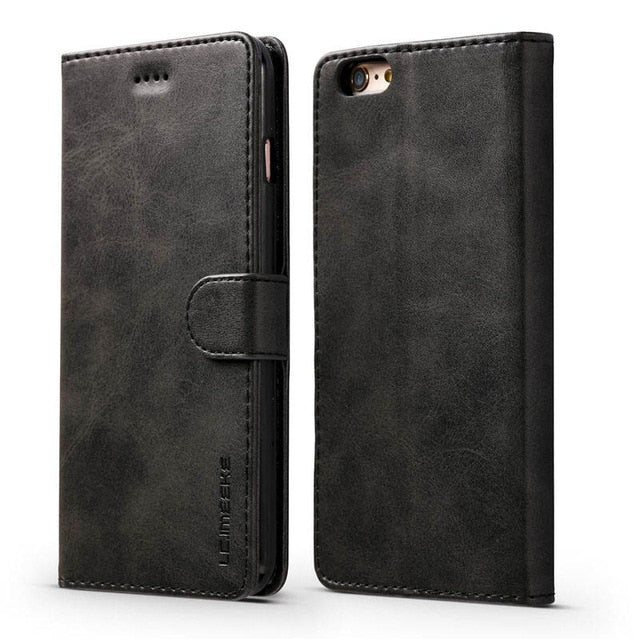 Luxury Leather Wallet Flip Case for iPhone Card Holder Phone Cover for iPhone