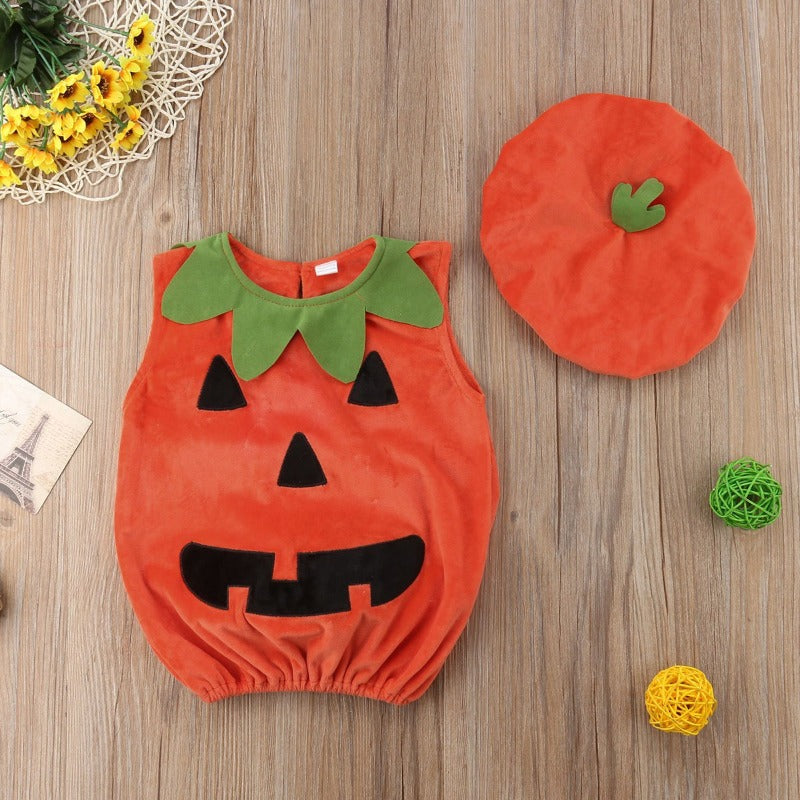 0-3 Y Newly Cosplay Halloween Toddler Baby Kid Pumpkin Print Sleeveless Romper Jumpsuits Tops+Hats Baby Clothes 2PCS Costumes