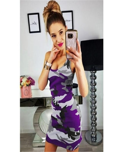 Summer Casual Camouflage Military Print Dress