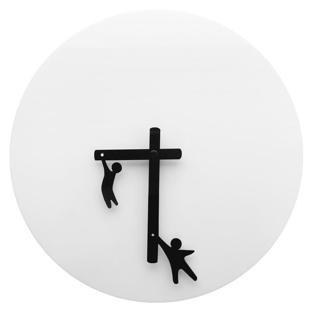 Fun Designer Abstract Modern Wall Clock Time 2 Play Little Men Clinging to The Hands Gymnasts