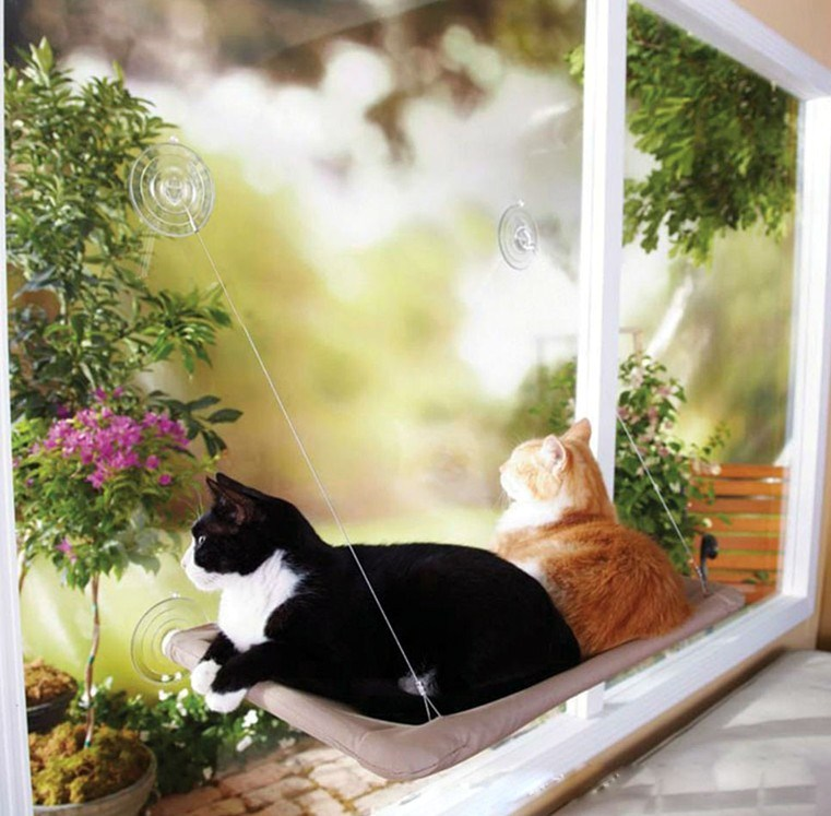 Cute Pet Hanging Beds Bearing Cat Sunny Seat Window Mount Pet Cat Hammock Comfortable Cat Pet Bed