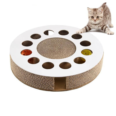 Cat Toy Scratches Kitten Toys with Ball Pet Catnip Bed Scratch Pet Products Corrugated Claw Round Cardboard Training Toy