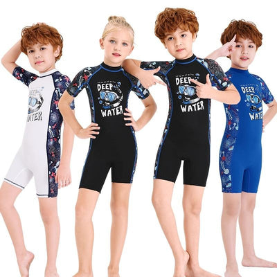 Kids Wetsuit Shorty Thermal Swimsuit Lycra Sun Suit Back Zip for Boys Girls
