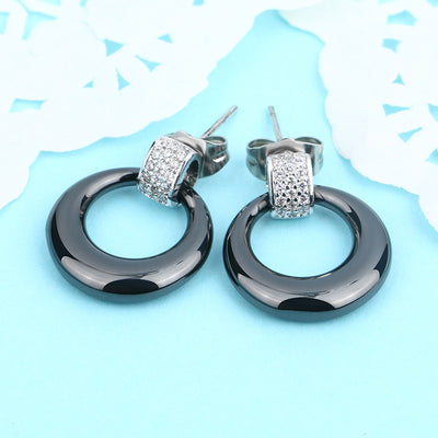 Circle Stud Earrings Black Ceramic Bling CZ Crystal