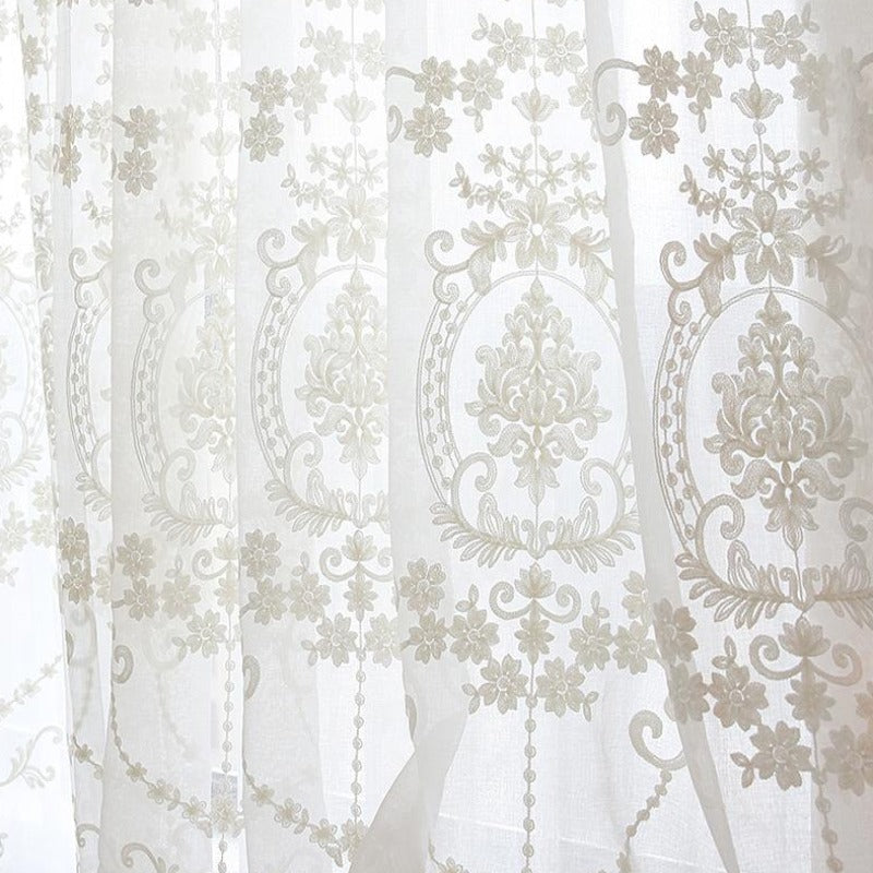 White Embroidery Flower Screens European Style Voile Tulle Sheer for Bedroom Living Room Windows Curtain