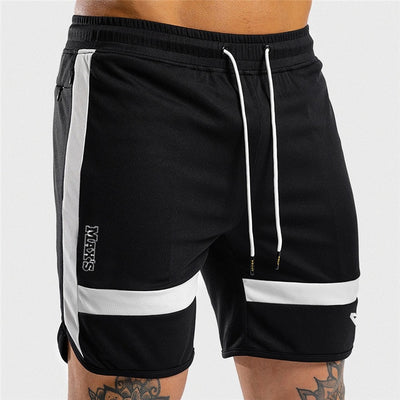 Men Sports Short Pants Black White Casual Training Bodybuilding Workout Fitness GYMS Short Pants