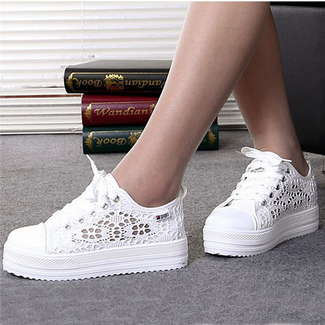 Women Shoes Casual White Cutouts Lace Canvas Hollow Breathable Platform Flat Shoes Woman Sneakers