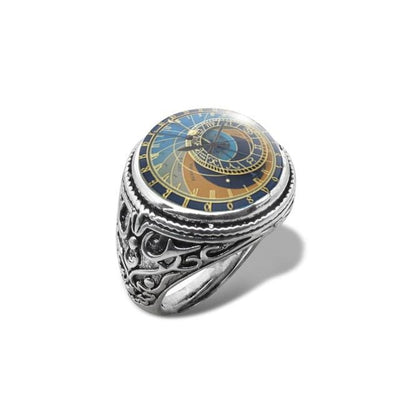 Astronomical Steampunk Vintage Ring Vintage Clock Photo Rings Glass Dome Cabochon Handmade Jewelry