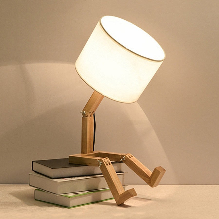 E27 Deformable Robot Wooden Table Lamp Creative Nordic  Bedroom Bedside Fashion Folding Desk Reading Light