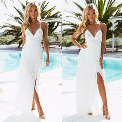 Womens  Boho Lace Split Long Maxi Dress Evening Party Dresses