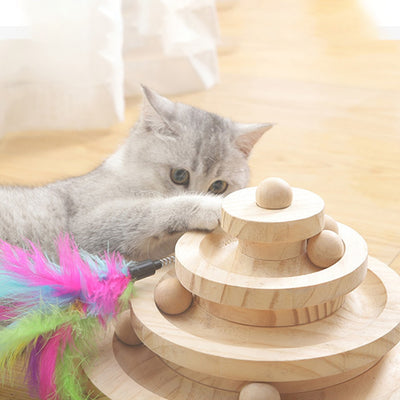 Original Wooden Funny Cat Pet Toy Cat Toys Intelligence Triple Play Discs Cat Toy Ball Disk Interactive Toy