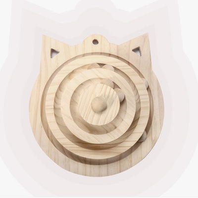 Wooden Funny Cat Pet Toy Cat Toys Intelligence Triple Play Discs Cat Toy Balls Cat Crazy Ball Disk Interactive Toy