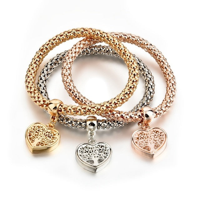 3Pcs Gold Hollow Love Heart & Tree of Life Bracelets & Bangles Charm for Women