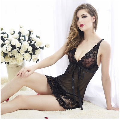Lace Nightgown Women Sleepwear Pyjamas Summer Negligee Babydoll Nightwear Sexy Lingerie Bathrobe Female Nightdress Home Clothes