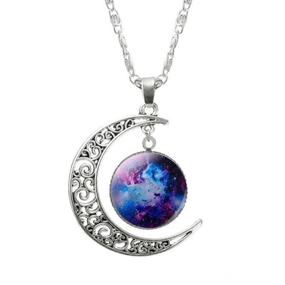 Necklace Glass Galaxy Lovely Pendant Silver Color Chain Moon Necklace Jewelry Gift