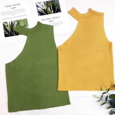 Women Halter Neck Off-Shoulder Knitted Cropped Tank Tops Female Bodycon Tanks Sleeveless Basic Solid T shirts Tees