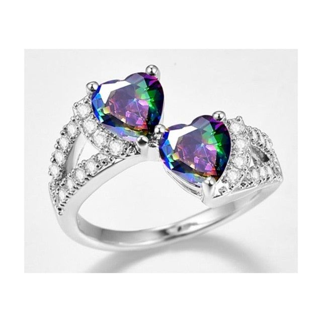 Double Heart Rainbow CZ Ring in Rhodium Plated Wedding Bands AAA Zircon Women Ring
