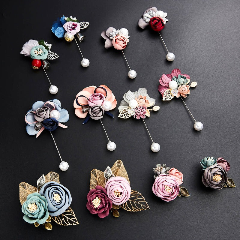 Lady Cloth Art Pearl Fabric Flower Brooch Pin Rose Flower Leaf Bowknot Crystal Cardigan Shirt Shawl Handmade