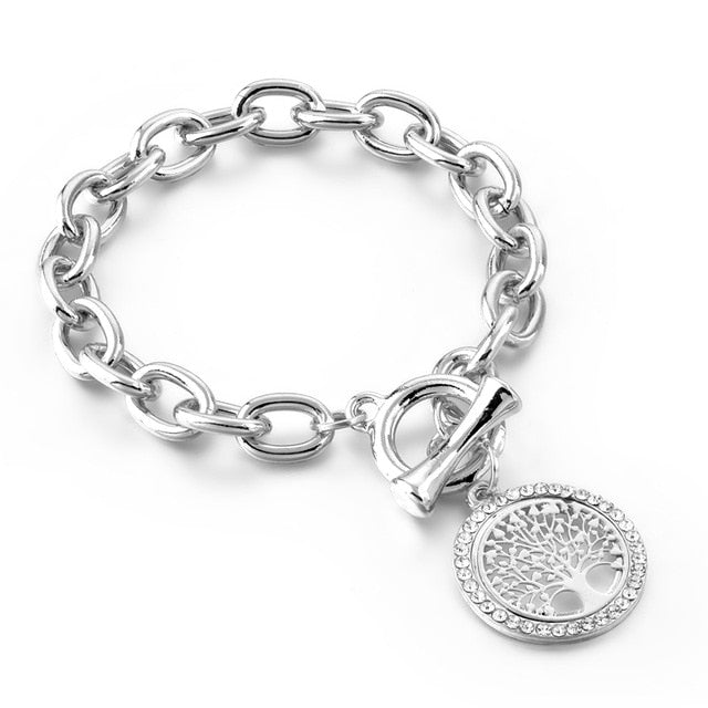 Gold Round Shape Charm Tree of Life Bracelets & Bangles Designs for Women Stainless Steel Bracelets