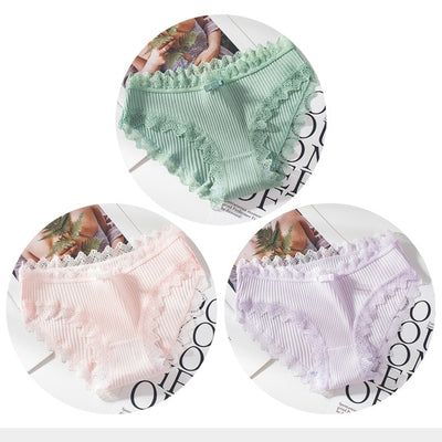 3PCS Women's Cotton Panties Female Lace Edge Breathable Briefs Sexy Underwear