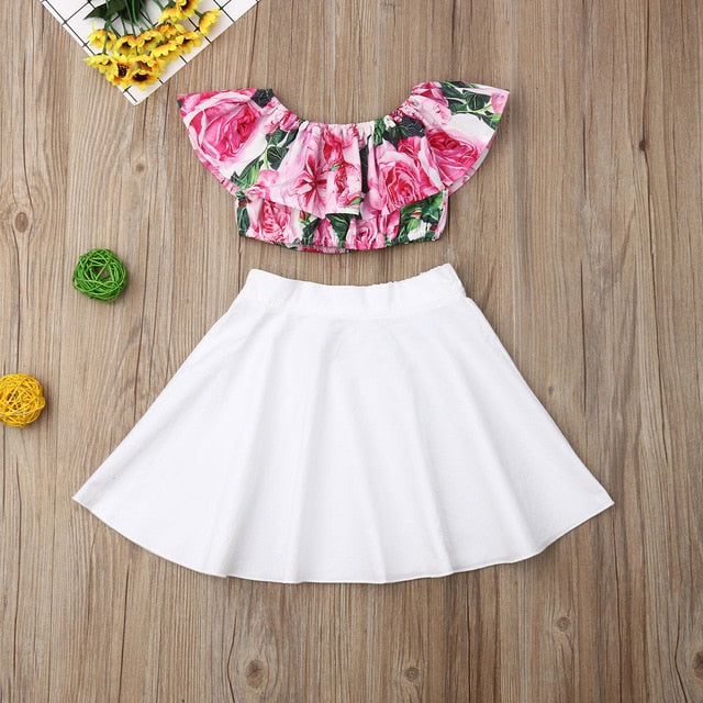 2PCS Newborn Toddler Baby Girl Summer Clothes Set Floral Print Off Shoulder Tops+Solid Skirt Dress Outfits Set  Fashionable 1-6T