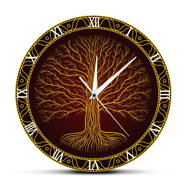 Nordic Sacred Symbol Tree Wall Clock Tree of Life Viking Mystic Amulet Wall Art Home Decor Silent Wall Watch