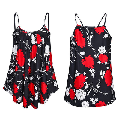 Plus Size Ladies Shirt Women Summer Sleeveless Floral Print Casual Loose Female Tops Street Tank