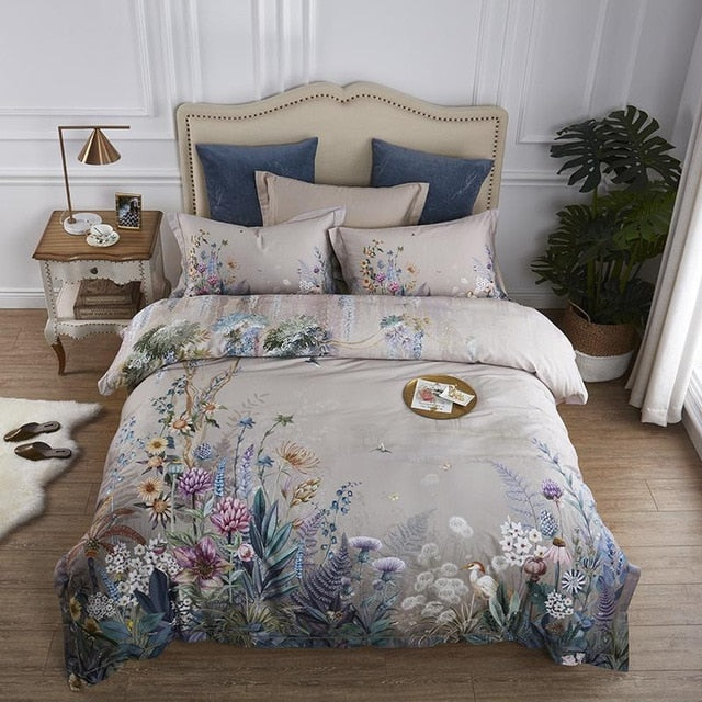 100% Egyptian Cotton US Size Bedding Queen King 4Pcs Birds and Flowers Leaf Gray Shabby Duvet Cover