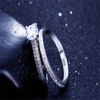 925 Silver Rings for Women Simple Design Double Stackable Fashion Jewelry Bridal Sets Wedding Engagement Ring