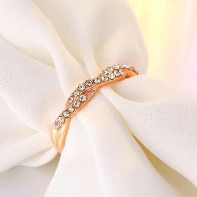 Twisted Rope Hemp Flowers Ring  Gold Silver Color Micro Cubic Zirconia Tail Ring Fashion Women's Jewelry