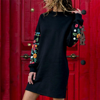 Floral Print Long Sleeve O-Neck Loose Thin Dress