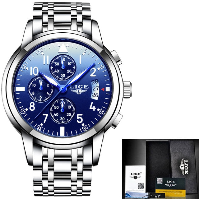Men's Watches Luxury Fashion Business Quartz Watch Men Sport Steel Waterproof Black Wristwatch
