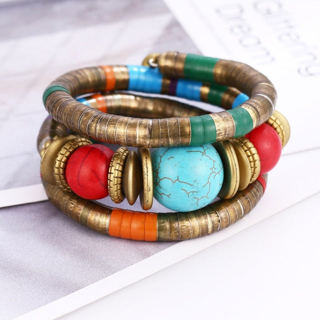 Natural Stone Colorful Snake Bangle Bracelets For Women Vintage Multilayer Metal Bracelet Jewelry Indian