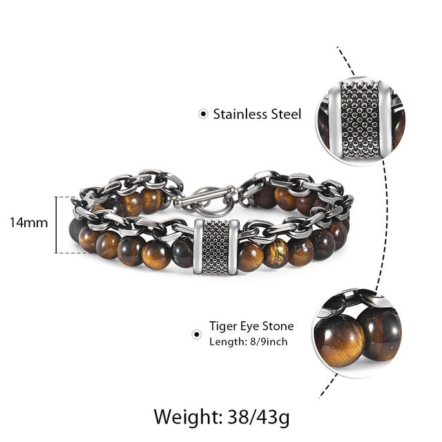 Natural Map Stone Men's Beaded Bracelet for Men Stainless Steel Bracelets Male Jewelry Tiger Eye