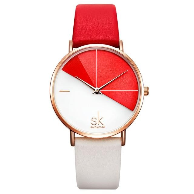 Women's Watches Fashion Leather Wrist Watch Vintage Ladies Watch Irregular Clock