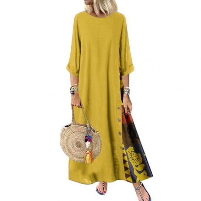 Plus Size Women Vintage Dresses O Neck 3/4 Sleeve Side Buttons Printed Loose Long Dress
