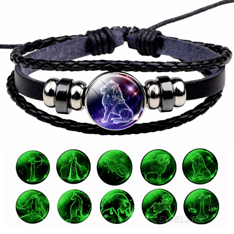 Glowing Constellation Bracelet Punk Luminous Jewelry Black Leather Woven Bracelet Glow in The Dark Zodiac Sign Luminous Bracelet