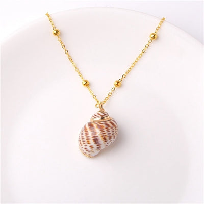 Boho Conch Shell Necklace Sea Beach Shell Chain Pendant Necklace for Women Jewelry Bohemian