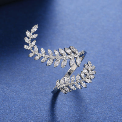Fashion Leaf Opening Ring for Women Wedding Party Delicate Finger Ring Cubic Zirconia Adjustable Ring Jewelry