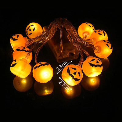 1.5m 10 LED Halloween Pumpkin Ghost Skeletons Bat Spider LED Light String Festival Bar Home Party Decor Halloween Ornament