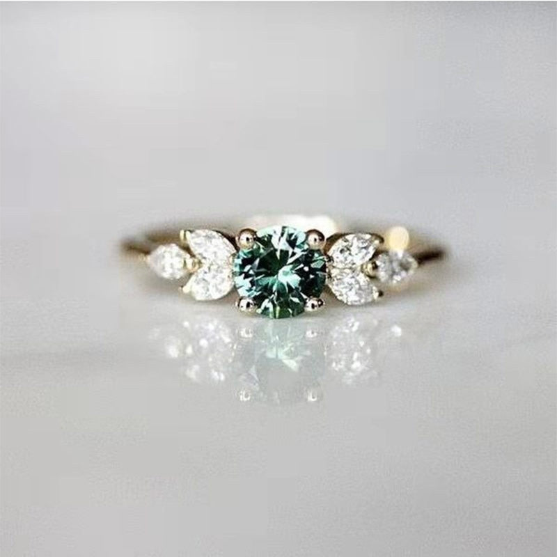 New Fashion Jewelry Green Stone Wedding Rings for Women Rose Gold Crystals Finger Midi Engagement Rings