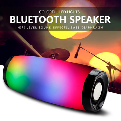 Wireless Bluetooth Speaker LED Portable Boom Box Outdoor Sound Box with Mic Support