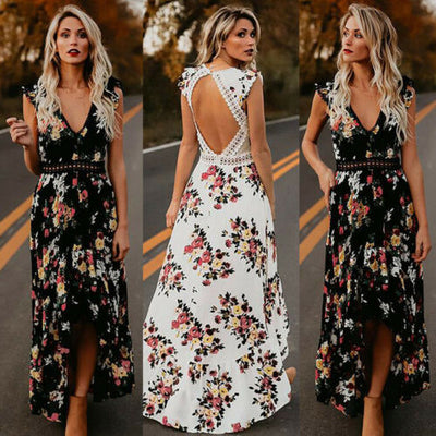 Sexy Long Beach Backless Floral Printed Dress