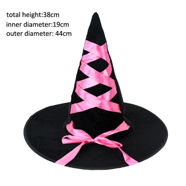 Adult Kids Children Halloween Witch Hats Masquerade Wizard Hat Cosplay Costume Accessories Halloween Party Fancy Dress Decor