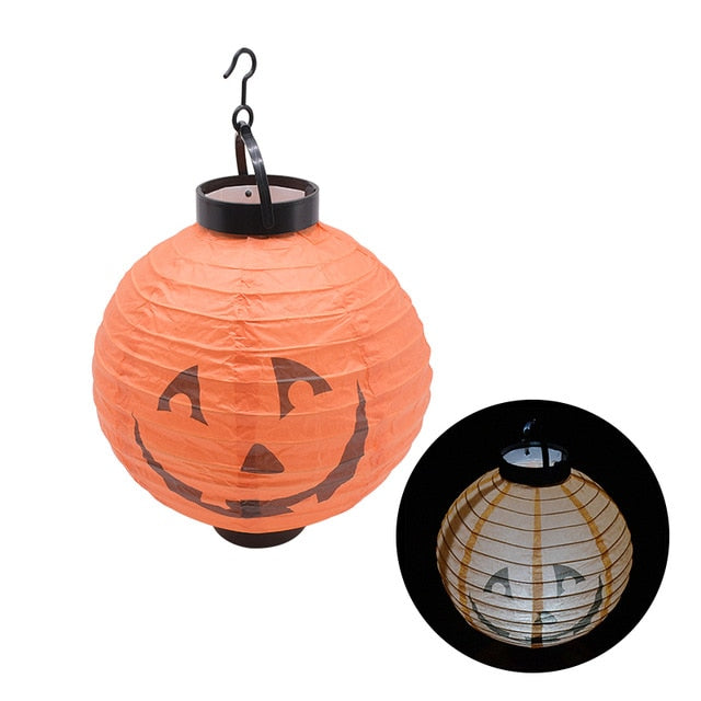 2Pcs/Lot LED Light Pumpkin Spider Hanging Lantern Halloween Decor Gift Portable Paper Lampion Hanging Ball Home Party Supplies